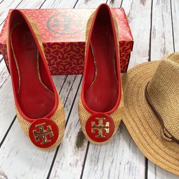 Tory Burch Shoes - Tory Burch Reva Raffia Flats. Red/Natural